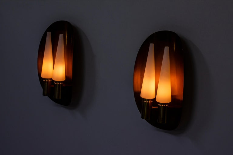 Pair of Brass Wall Lamps by Hans-Agne Jakobsson, Sweden, 1960s For Sale 3