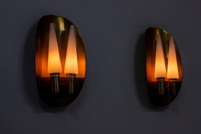 Pair of Brass Wall Lamps by Hans-Agne Jakobsson, Sweden, 1960s For Sale 7