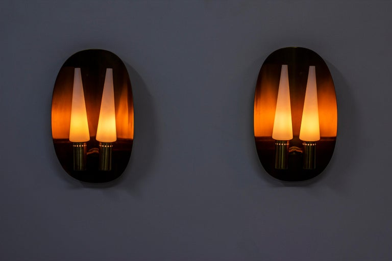 Pair of Brass Wall Lamps by Hans-Agne Jakobsson, Sweden, 1960s For Sale 2
