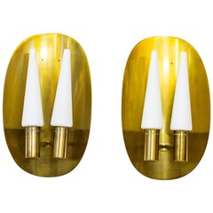 Pair of Brass Wall Lamps by Hans-Agne Jakobsson, Sweden, 1960s