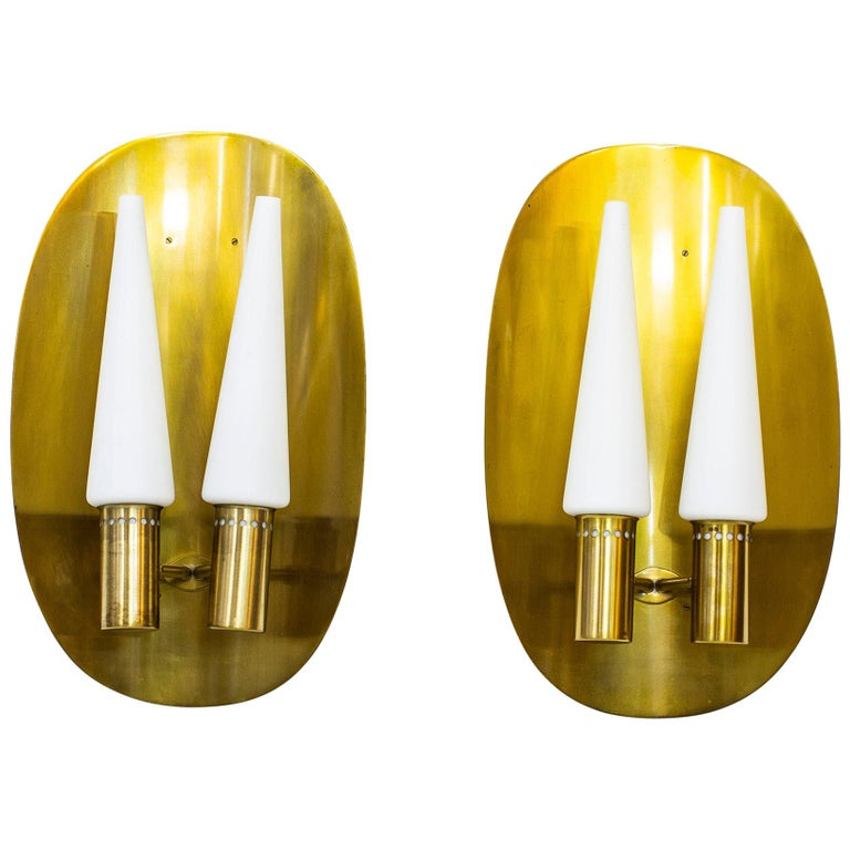 Pair of Brass Wall Lamps by Hans-Agne Jakobsson, Sweden, 1960s For Sale