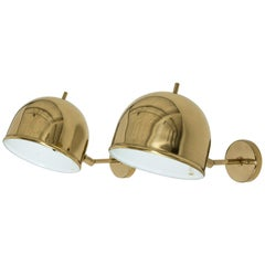 Pair of Brass Wall Lamps from Bergboms, Sweden, 1960s