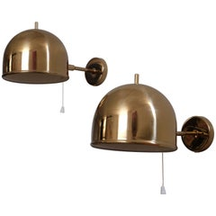 Pair of Brass Wall Lamps, Model G-075, Bergboms, Sweden, 1960s