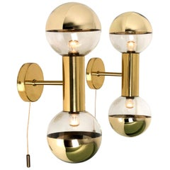 Pair of Brass Wall Lamps or Wall Scones by Motoko Ishii for Staff, 1970s