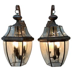 Pair of Brass Wall Lantern