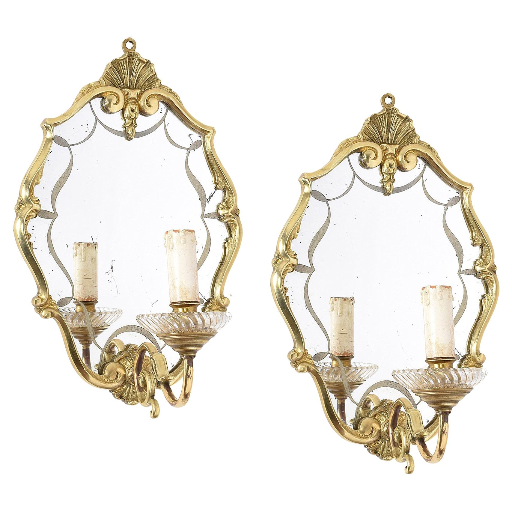 Pair of Brass Wall Lights in Venetian Neoclassical Style with Mirror, 1900s