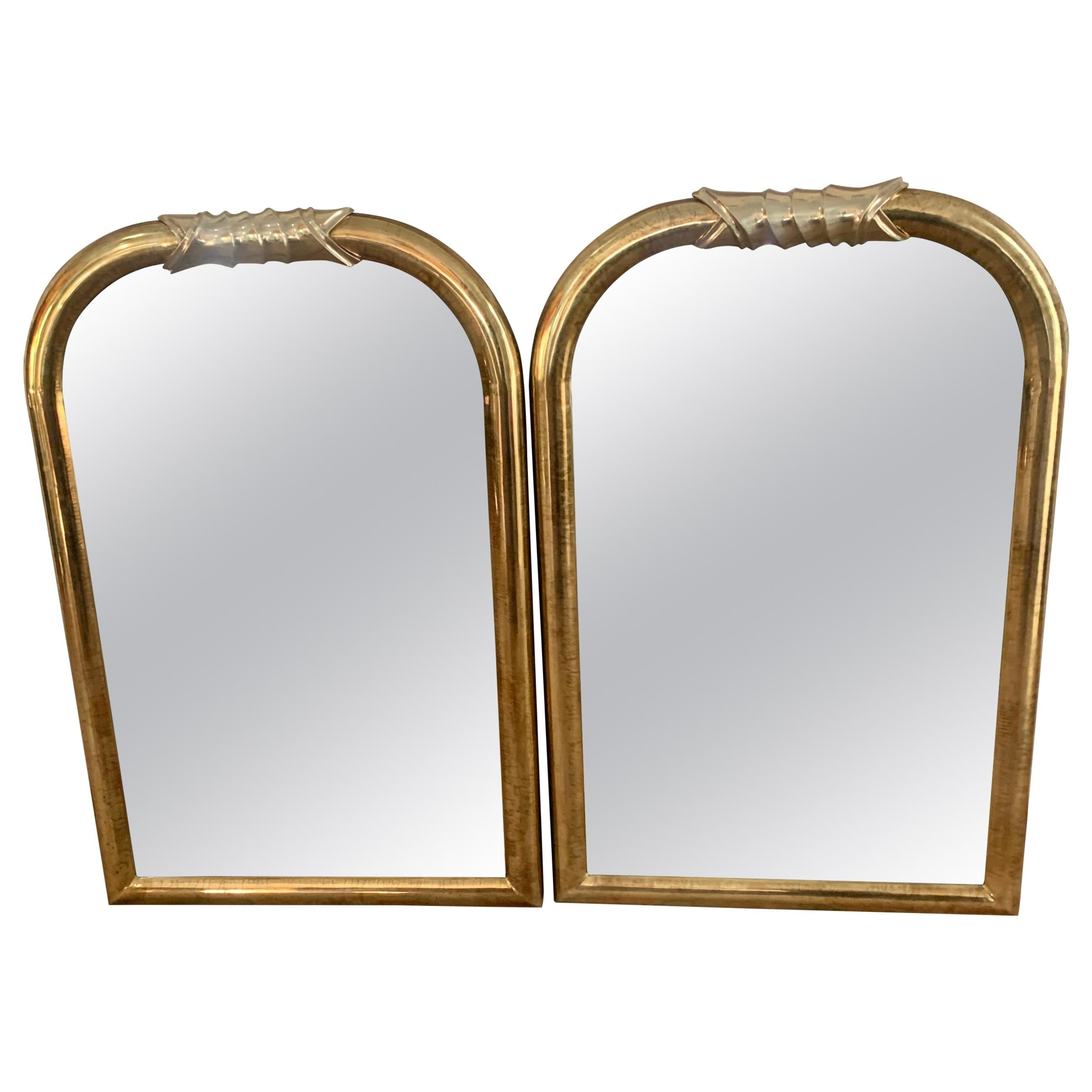 Pair of Brass Wall Mirrors in the Style of Louis Phillipe