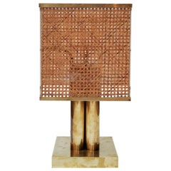 Pair of Brass Wicker and Plexi Table Lamps
