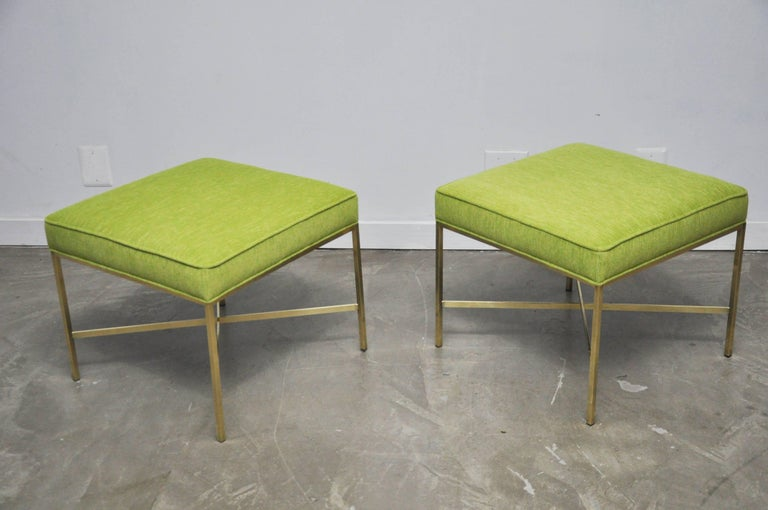 American Pair of Brass X-Base Stools by Paul McCobb For Sale