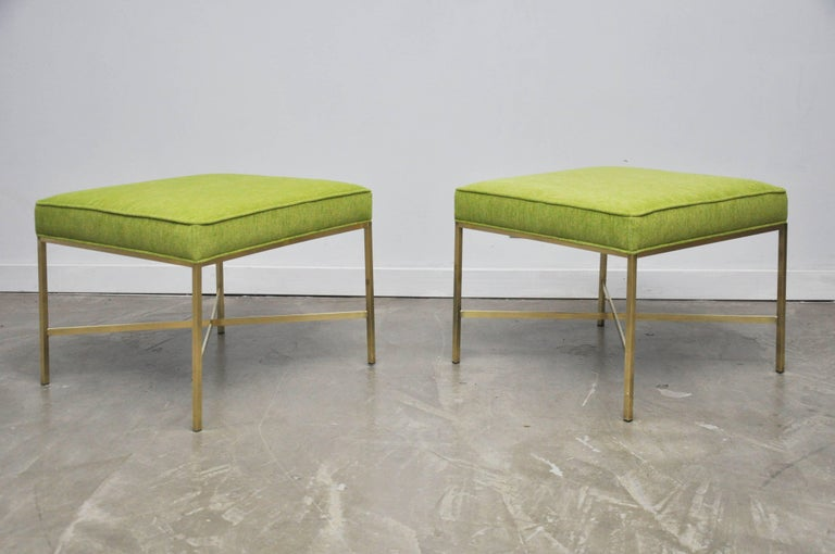Pair of Brass X-Base Stools by Paul McCobb In Excellent Condition For Sale In Chicago, IL