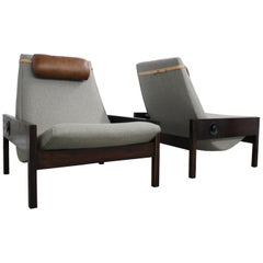 "Pair of Brazilian 1960s Sergio Rodrigues Brazilian Jacaranda ""Gio"" Chairs"