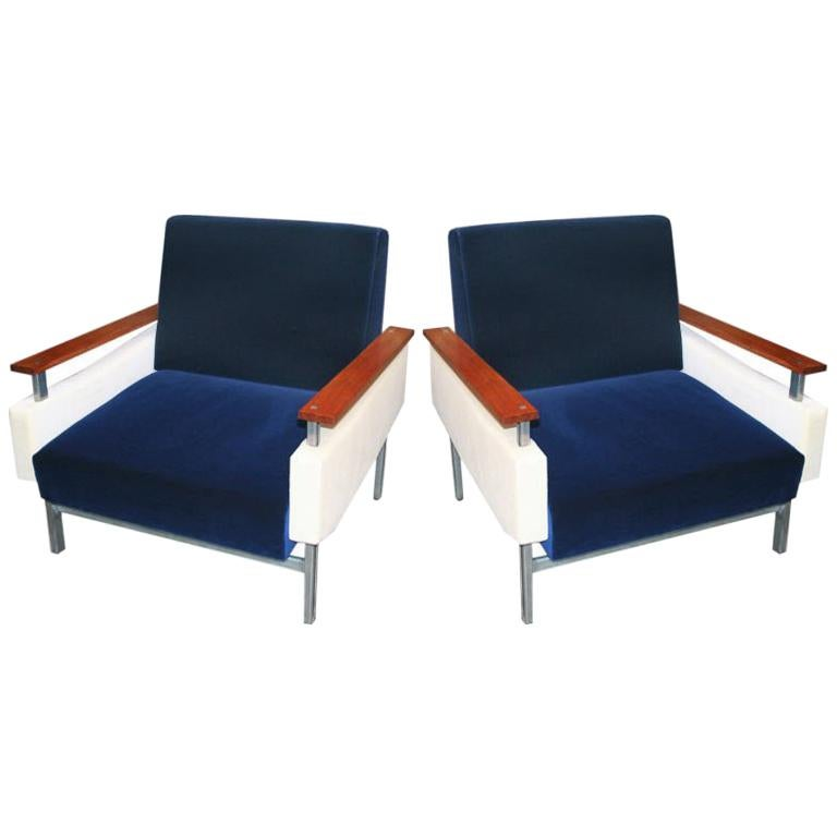 Pair of Brazilian Caviuna Two-Tone Blue and Beige Velvet Armchairs, 1950s For Sale