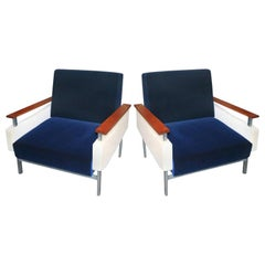 Pair of Brazilian Caviuna Two-Tone Blue and Beige Velvet Armchairs, 1950s