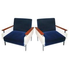 Pair of Brazilian Caviuna Two-Tone Blue and Beige Velvet Armchairs, 1950s
