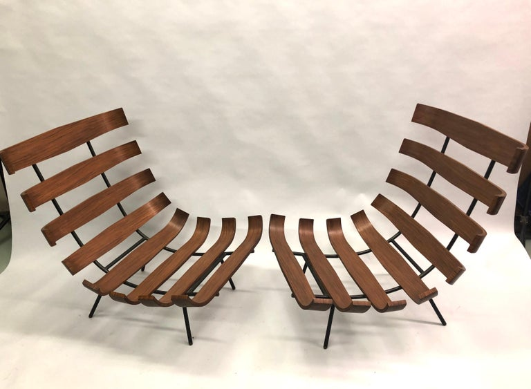 Enameled Pair of Brazilian 'Costela' Lounge Chairs by Carlo Hauner & Martin Eisler, 1954 For Sale