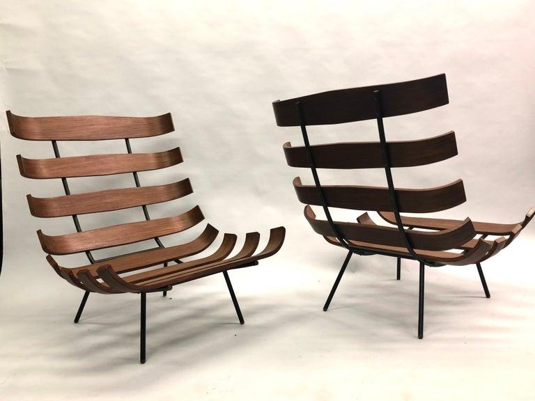 Hardwood Pair of Brazilian 'Costela' Lounge Chairs by Carlo Hauner & Martin Eisler, 1954 For Sale