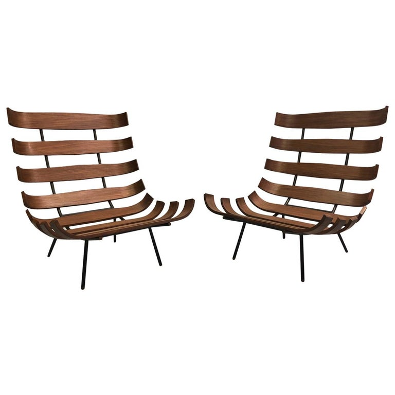 Pair of Brazilian 'Costela' Lounge Chairs by Carlo Hauner & Martin Eisler, 1954 For Sale