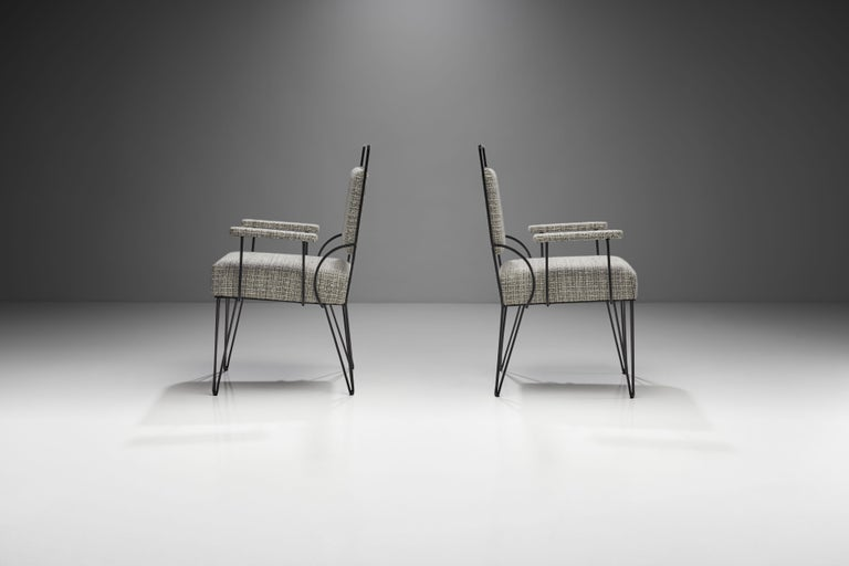 Metal Pair of Brazilian Iron Armchairs, Brazil, 1950s For Sale