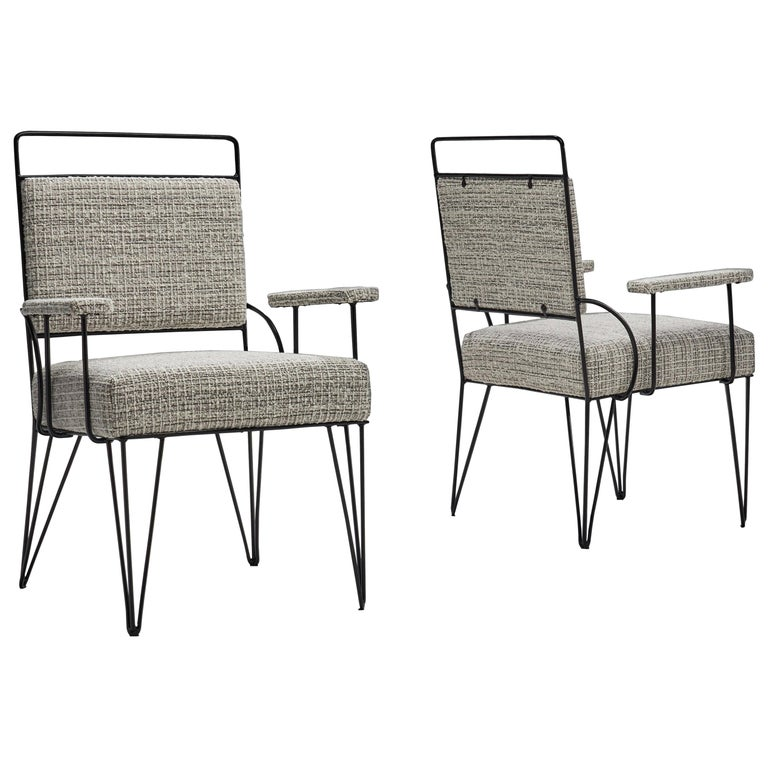 Pair of Brazilian Iron Armchairs, Brazil, 1950s For Sale