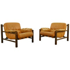 Pair of Brazilian Lounge Chairs in Cognac Leather, 1970s