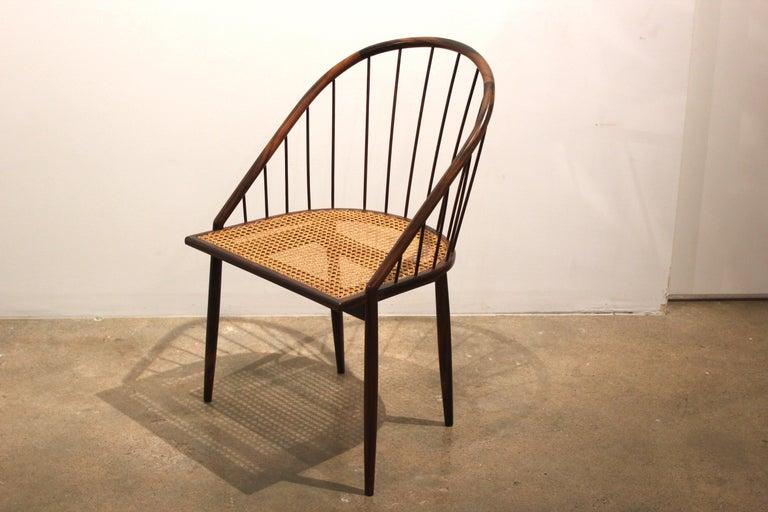 1960s Pair of Brazilian Modern Cane Curva Chairs by Joaquim Tenreiro For Sale