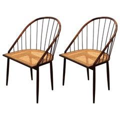 Pair of Brazilian Modern Cane Curva Chairs by Joaquim Tenreiro