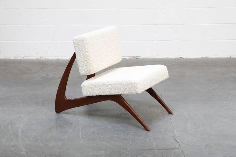Pair of Brazilian Modern Sculptural Lounge Chairs in Alpaca Bouclé, 1960s For Sale 2