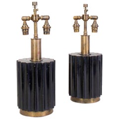 Pair of Brazilian Modernist Lamps in Wood and Bronze