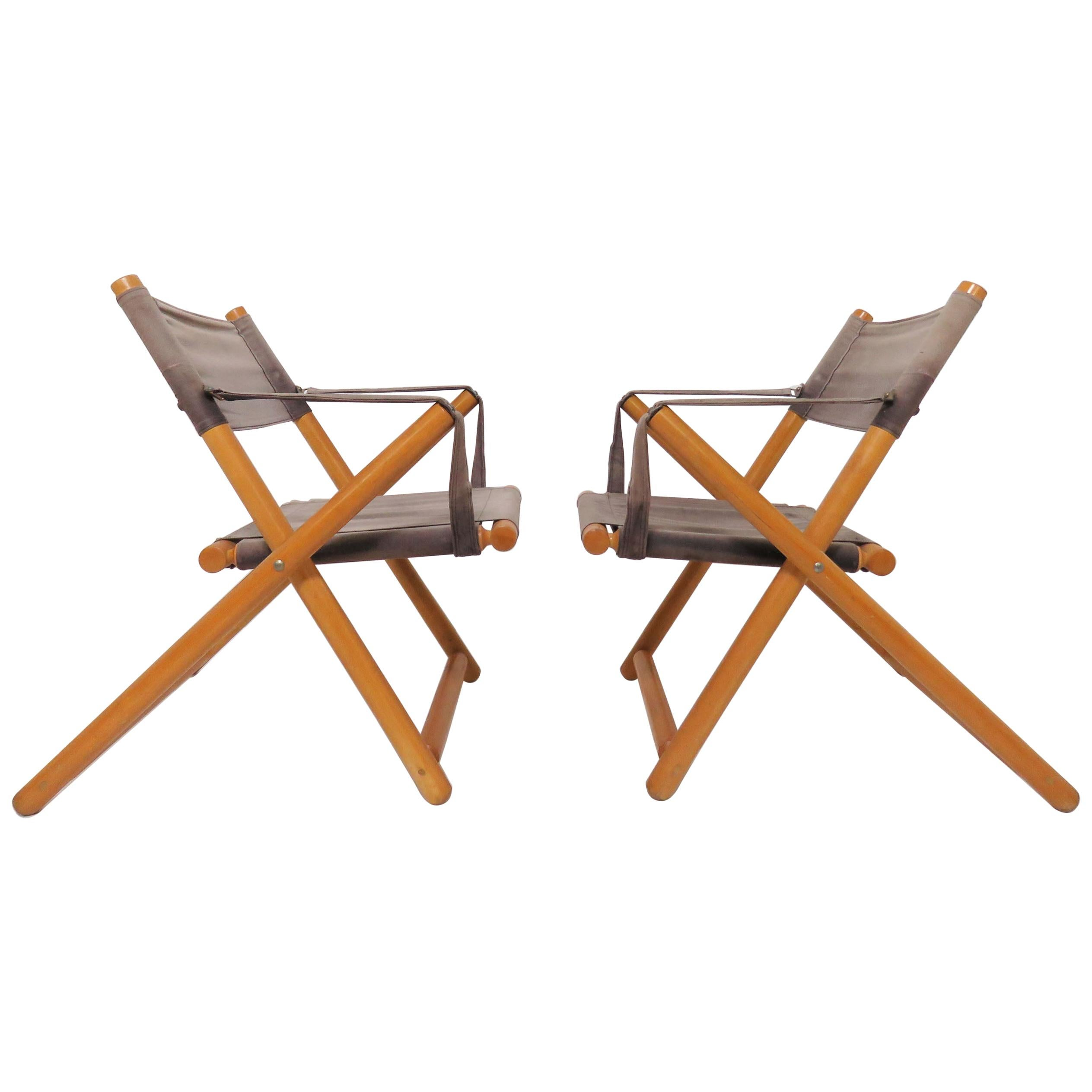 Pair of Brazilian Móveis Gerdau Folding Safari Sling Chairs, circa 1970s