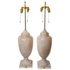 Pair of Brazilian Rock Crystal Lamps