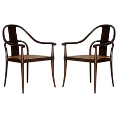 Pair of Brazilian Rosewood and Cane Bentwood Chairs, circa 1940s Brazil