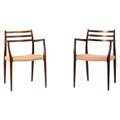 Pair of Brazilian Rosewood Model 62 Armchairs by Niels Moller, 1962