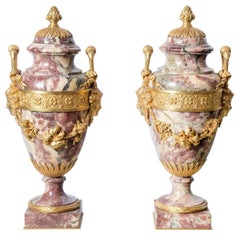 Pair of Breccia Marble and Gilt Bronze Cassolettes, France, Mid-19th Century