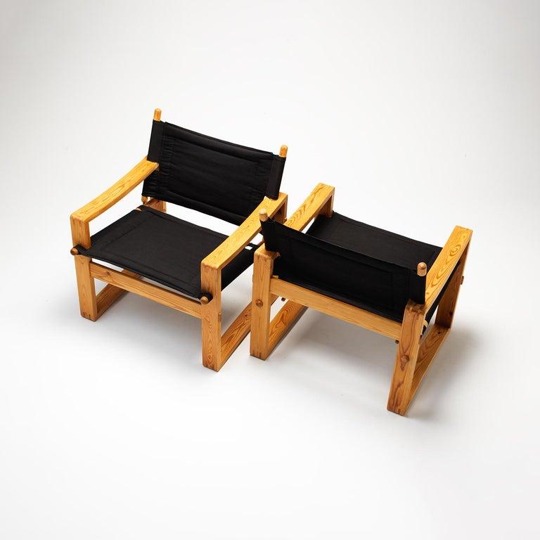Danish Pair of Børge Jensen Safari Chairs, Bernstorffsminde Møbelfabrik, Denmark, 1960s