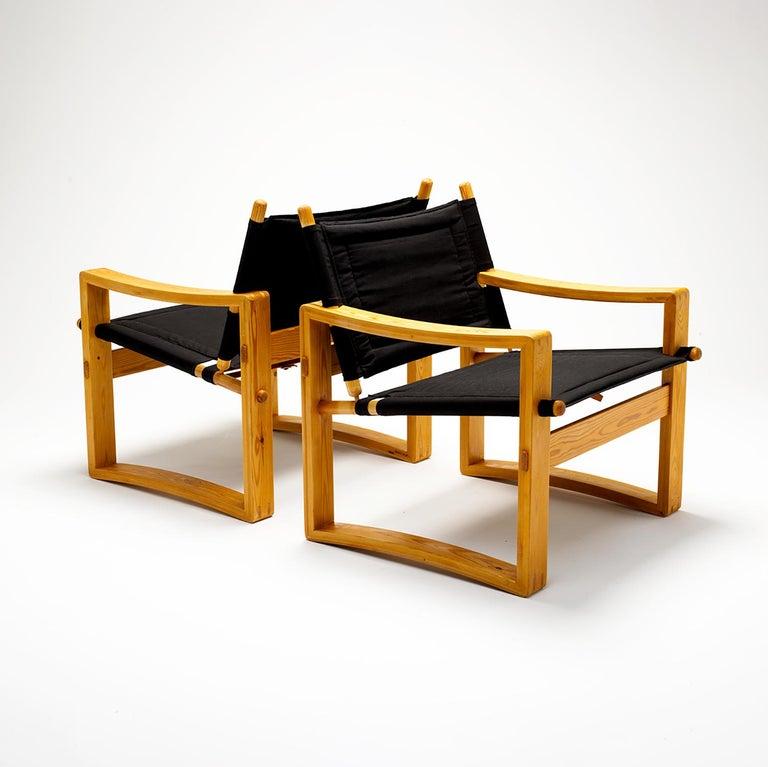 Pair of Børge Jensen Safari Chairs, Bernstorffsminde Møbelfabrik, Denmark, 1960s In Good Condition In Berkhamsted, GB