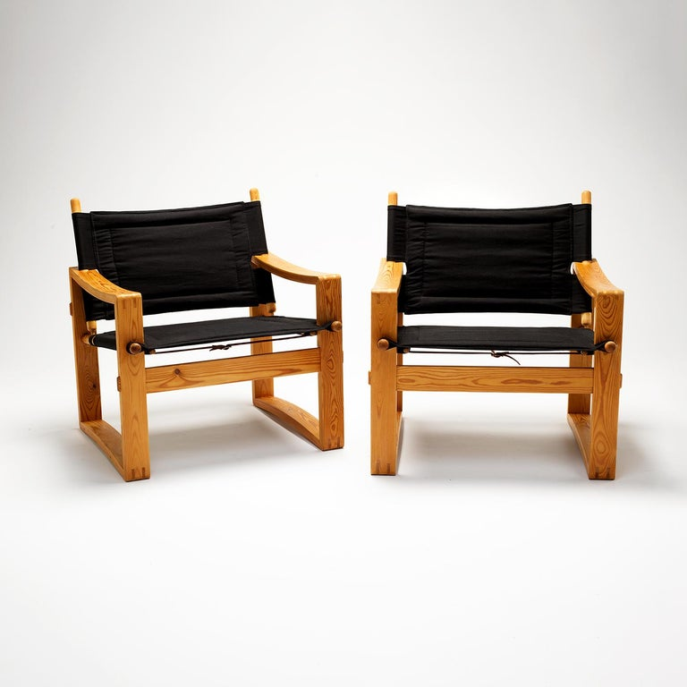 Mid-20th Century Pair of Børge Jensen Safari Chairs, Bernstorffsminde Møbelfabrik, Denmark, 1960s
