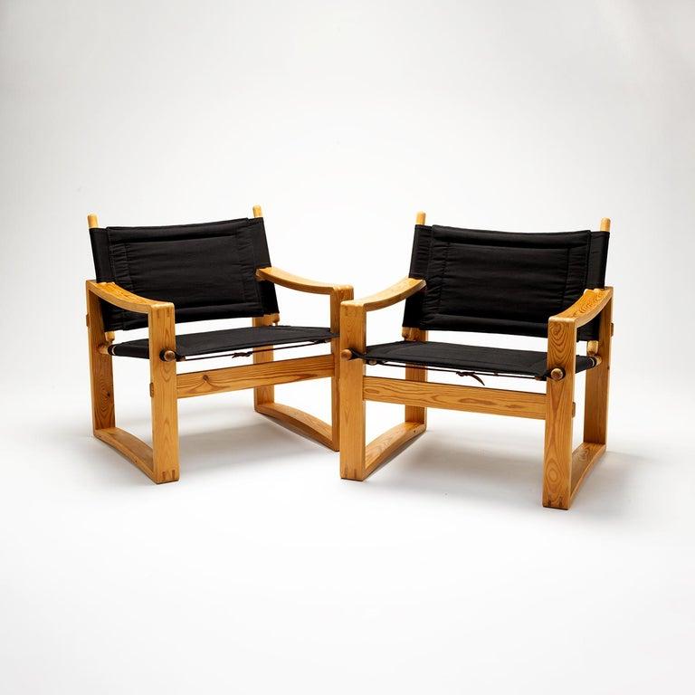 Canvas Pair of Børge Jensen Safari Chairs, Bernstorffsminde Møbelfabrik, Denmark, 1960s