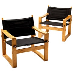 Pair of Børge Jensen Safari Chairs, Bernstorffsminde Møbelfabrik, Denmark, 1960s