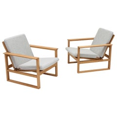 Pair of Børge Mogensen 2256 Lounge Chairs, Fredericia, Denmark, 1956