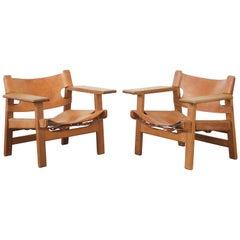 Pair of Børge Mogensen Spanish Chairs, Denmark, 1950s-1960s