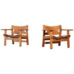 Pair of Børge Mogensen Spanish Chairs, Denmark, 1960s