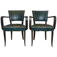 Pair of Bridge Chairs Leather French Art Deco, circa 1930