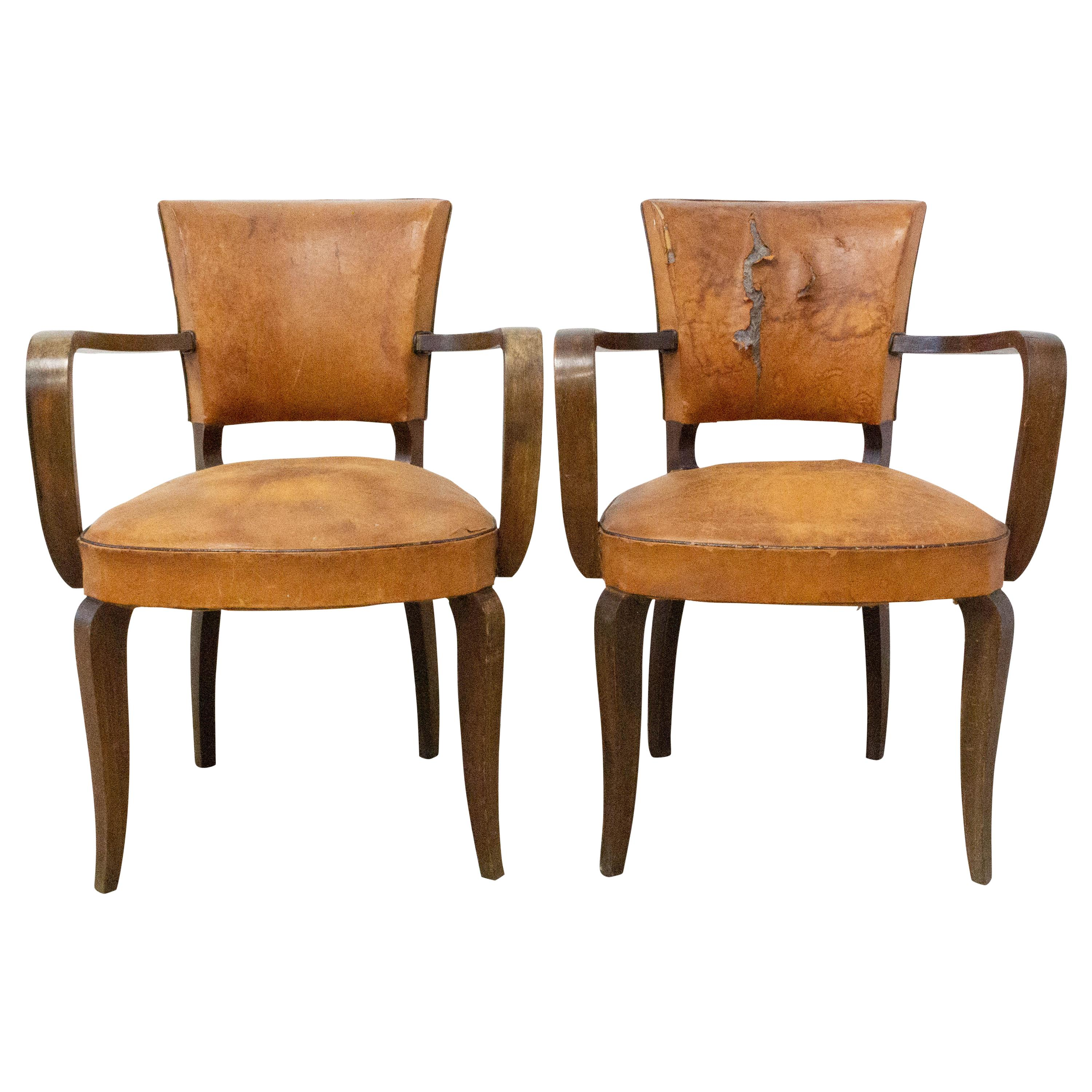 Pair of Bridge Chairs Leather French Art Deco circa 1930, to be Re-Upholstered