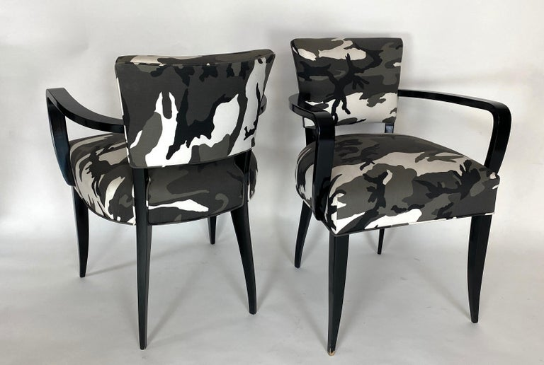 Mid-Century Modern Pair of Bridge Chairs, Urban Camo For Sale