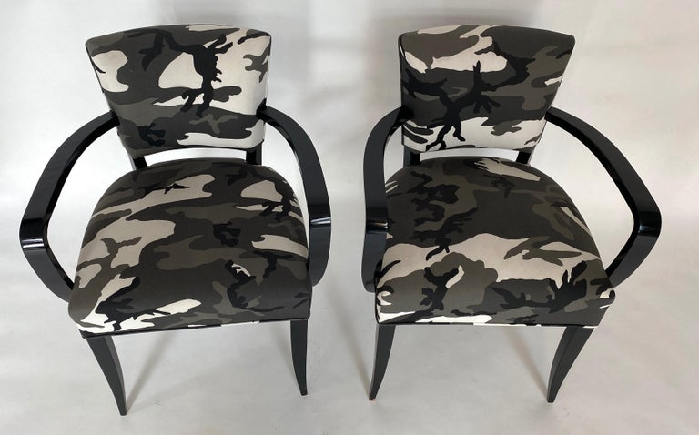 French Pair of Bridge Chairs, Urban Camo For Sale
