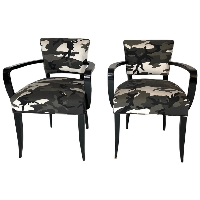 Pair of Bridge Chairs, Urban Camo For Sale