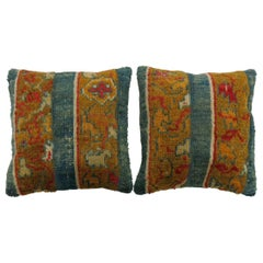 Pair of Bright Blue Gold Antique Angora Wool Oushak Rug Pillows