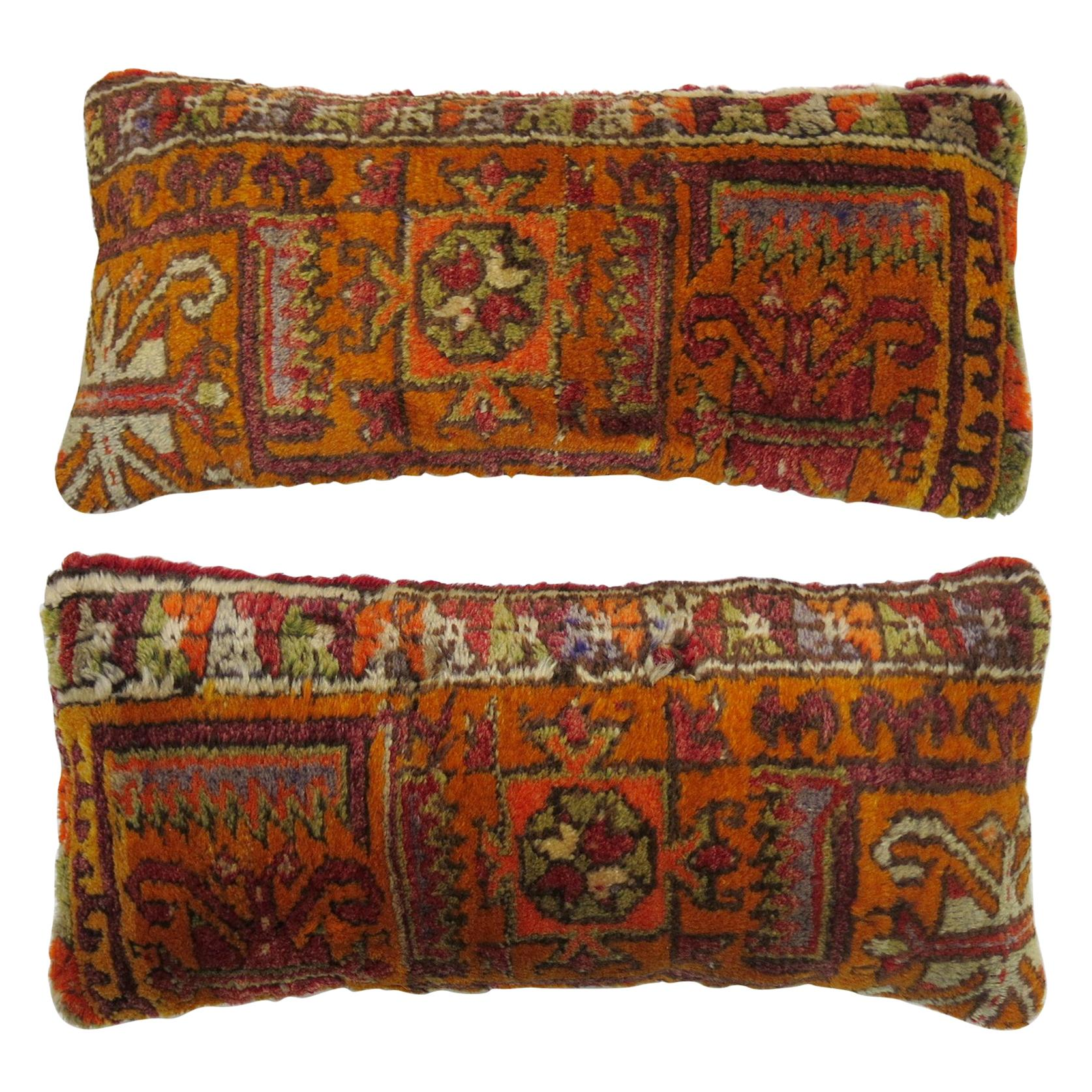 Pair of Bright Orange Bolster Pillows