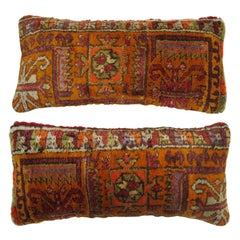 Pair of Bright Orange Bolster Pillows