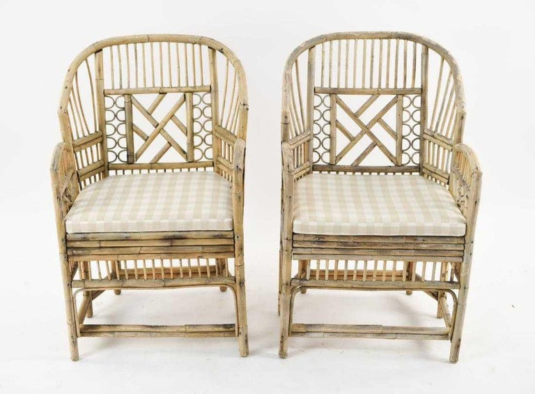 Hollywood Regency Pair of Brighton Pavilion Style Bamboo Armchairs For Sale